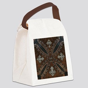 tooled leather western country  Canvas Lunch Bag