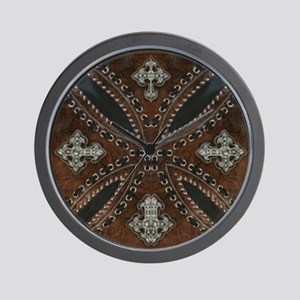 tooled leather western country  Wall Clock