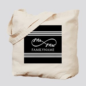 Black and White Custom Infinity Mr. Mrs. Tote Bag
