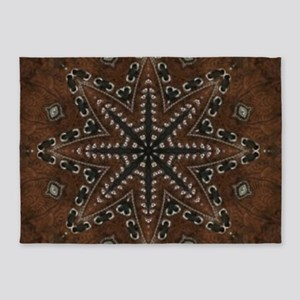 brown leather western country 5'x7'Area Rug