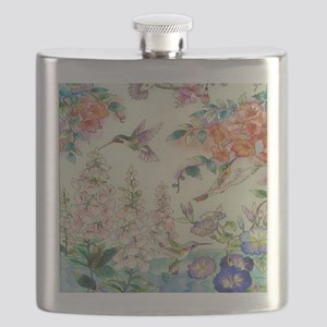 hummingbirds and flowers Flask
