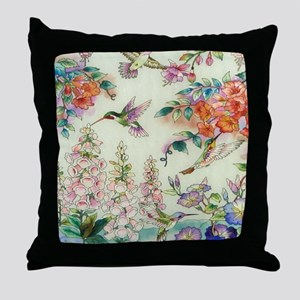 hummingbirds and flowers Throw Pillow