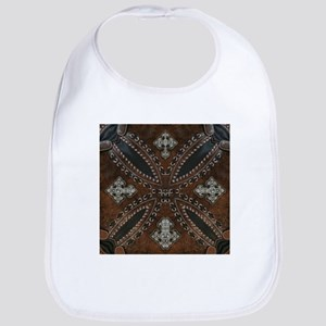 tooled leather western country Bib