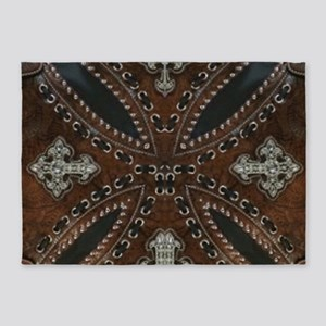 tooled leather western country 5'x7'Area Rug
