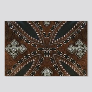 tooled leather western co Postcards (Package of 8)