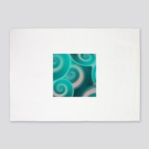 Teal Abstract Waves 5'x7'Area Rug