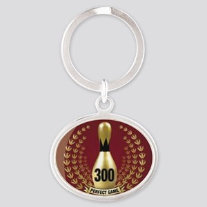 BOWLING - 300 - PERFECT GAME Oval Keychain