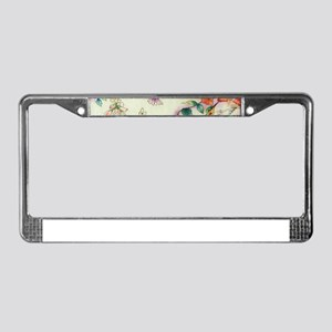 hummingbirds and flowers License Plate Frame