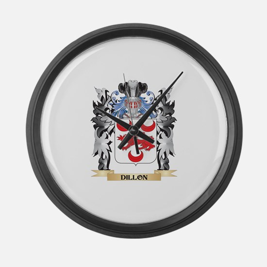 Dillon Coat of Arms - Family Cres Large Wall Clock
