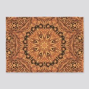 western cowboy tooled leather 5'x7'Area Rug