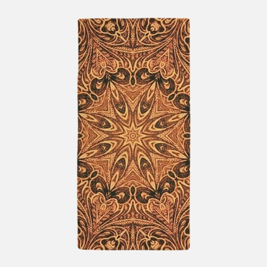 western cowboy tooled leather Beach Towel