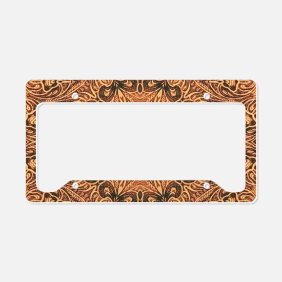 western cowboy tooled leather License Plate Holder