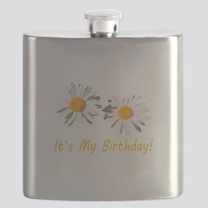 Lovely white daisy flowers, it's my birthday Flask