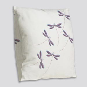 Dragonfly flight Burlap Throw Pillow