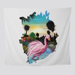 Flamingos Paradise Wall Tapestry