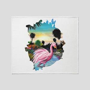 Flamingos Paradise Throw Blanket