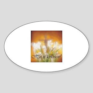 Easter - He is Risen Oval Sticker