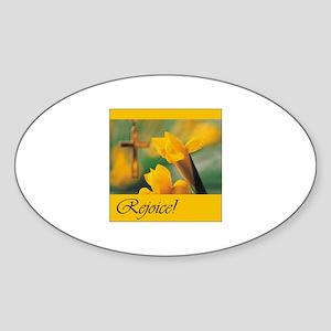 Christian Easter - Rejoice Oval Sticker