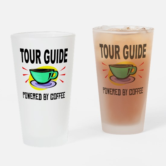 Tour Guide Powered By Coffee Drinking Glass