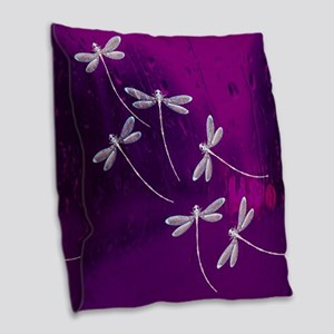 Dragonflies on water Burlap Throw Pillow