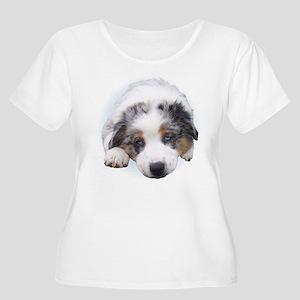 Blue Merle Pup Women's Plus Size Scoop Neck T-Shir