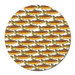 Golden Trout Pattern Round Car Magnet