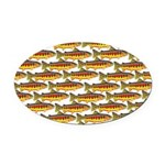 Golden Trout Pattern Oval Car Magnet