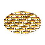 Golden Trout Pattern Oval Car Magnet