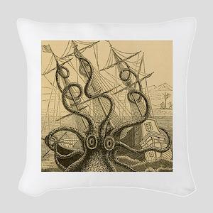 Kraken attack Woven Throw Pillow