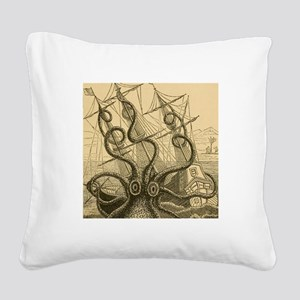Kraken attack Square Canvas Pillow