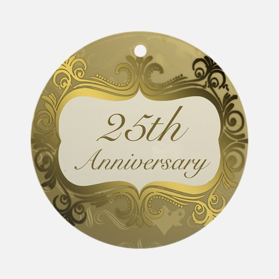 Fancy 25th Wedding Anniversary Ornament (Round)
