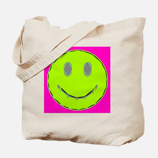 Pink Lime Happy Face Tote Bag