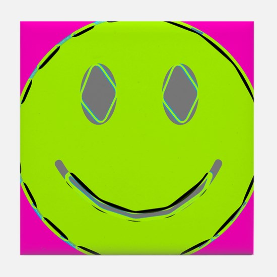 Pink Lime Happy Face Tile Coaster