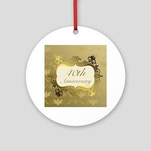 Fancy 40th Wedding Anniversary Ornament (Round)