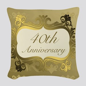 Fancy 40th Wedding Anniversary Woven Throw Pillow