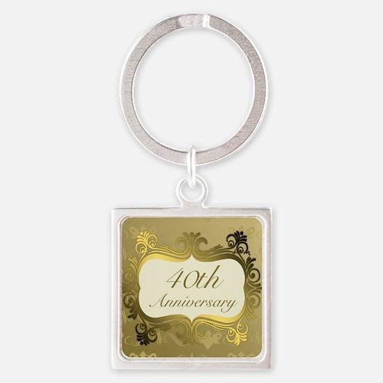 Fancy 40th Wedding Anniversary Keychains