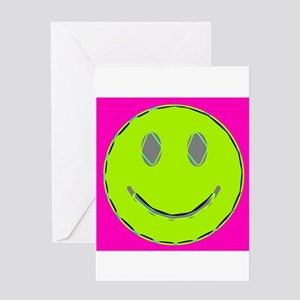 Pink Lime Happy Face Greeting Cards