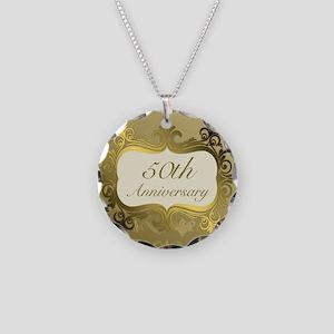 Fancy 50th Wedding Anniversa Necklace Circle Charm