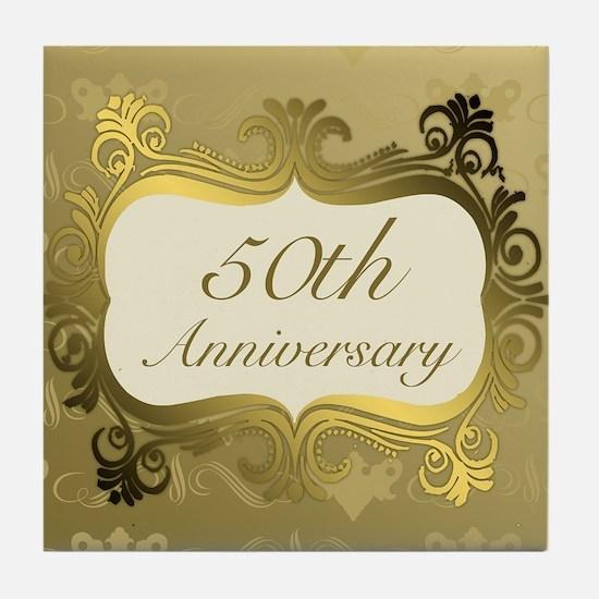 Fancy 50th Wedding Anniversary Tile Coaster