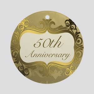 Fancy 50th Wedding Anniversary Ornament (Round)