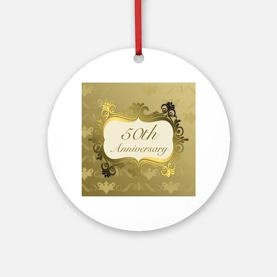 Fancy 50th Wedding Anniversary Ornament (Round)
