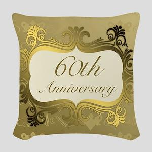 Fancy 60th Wedding Anniversary Woven Throw Pillow