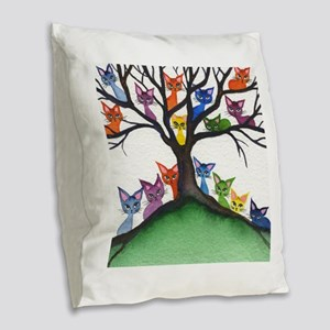 Vista Stray Cats in Tree Burlap Throw Pillow