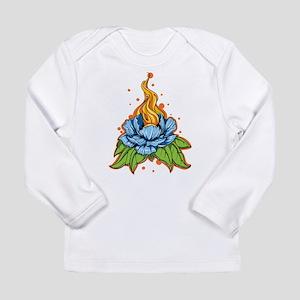 Flaming Blue Flower Long Sleeve T-Shirt