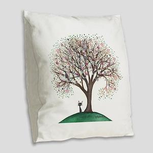 Singapore Stray Cat in Tree Burlap Throw Pillow