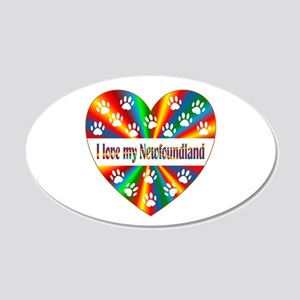 Newfoundland Love 20x12 Oval Wall Decal