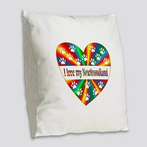 Newfoundland Love Burlap Throw Pillow
