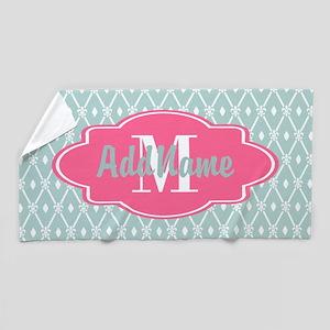 Pink Monogram and Mint Trellis Beach Towel
