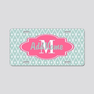 Pink Monogram and Mint Trel Aluminum License Plate