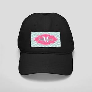 Pink Monogram and Mint Trellis Black Cap
